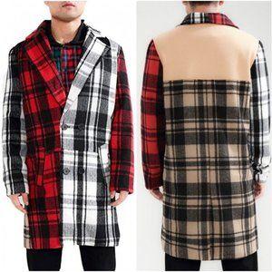 Roku Studio mens Crazy Plaid wool blend overcoat